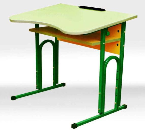 Стіл учнівський одномісний регульований з вирізом під учня + полиця фото 51935