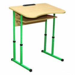 Стіл учнівський одномісний регульований з вирізом під учня + полиця фото 51931