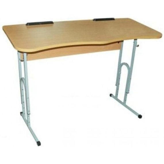 Стол ученический двухместный регулируемый с вырезом под ученика фото 49729
