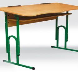 Стіл учнівський одномісний регульований з вирізом під учня + полиця фото 51971