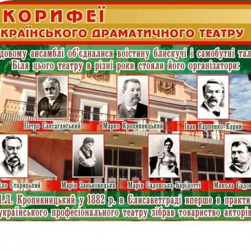 """Стенд """"Корифеї українського театру"""""""