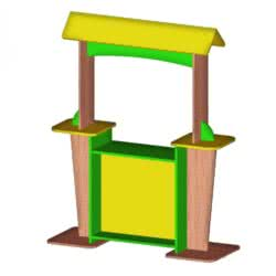 Шафка для дитячої роздягальні з кольоровими дверима і лавкою (2 секції) фото 52410