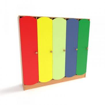 Шафка для дитячої роздягальні з кольоровими дверима (5 секцій)