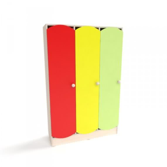 Шкаф детский для раздевалки с цветными дверцами (3 секции) фото 46613