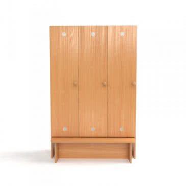 Шкаф для раздевалки в садик с лавкой трехсекционный