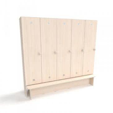 Детский шкафчик для раздевалки с лавкой (5 секций)