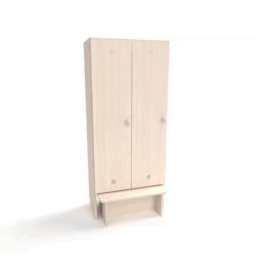 Детский шкаф с лавкой для раздевалки (2 секции)