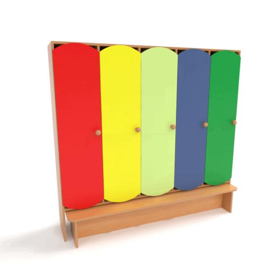 Шкаф для детской раздевалки 5 секций с лавкой от производителя