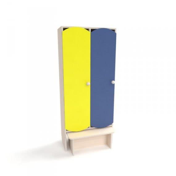Шафка для дитячої роздягальні з кольоровими дверима і лавкою (2 секції)