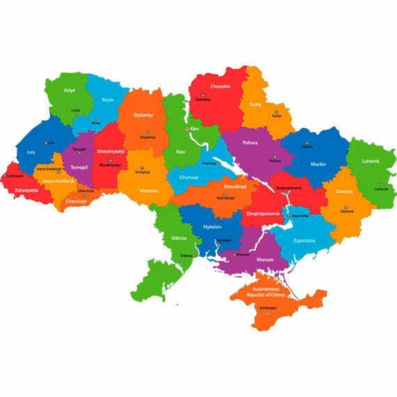 карта украины - цветная
