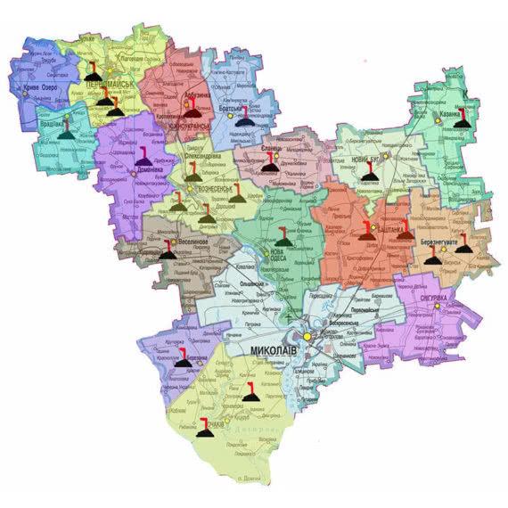 Карта Миколаївської області