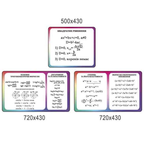 Комплекс стендов математические формулы фиолетовый фото 43213