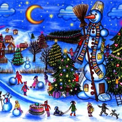 Плакат  Снеговик и ночь. 40 грн.