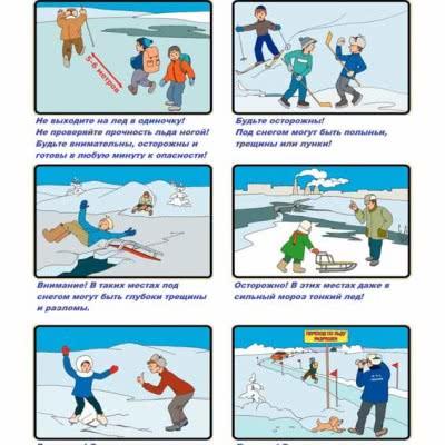 Стенд Меры предосторожности и правила поведения на льдуРазмеры:420х600Цена:152 грн.