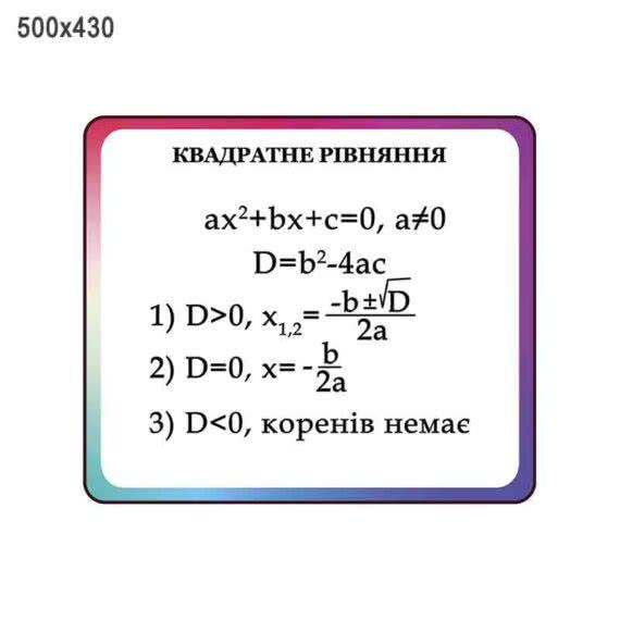 """Стенд """"Квадратні рівняння"""" фіолет"""
