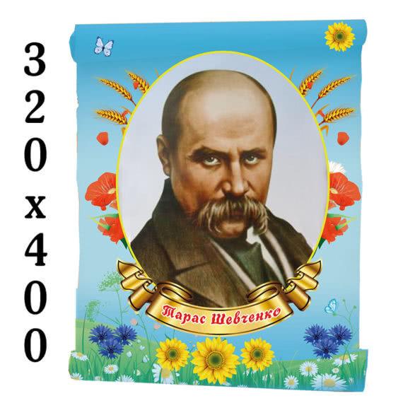 Портрет Тараса Шевченко на голубом фоне