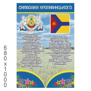 Стенд «Символика Кропивницкого сине желтый прямоугольный»