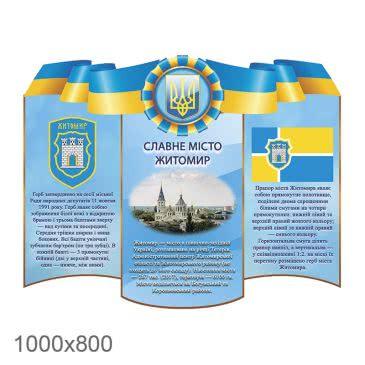 Стенд «Славный город Житомир желто синий фигурный»